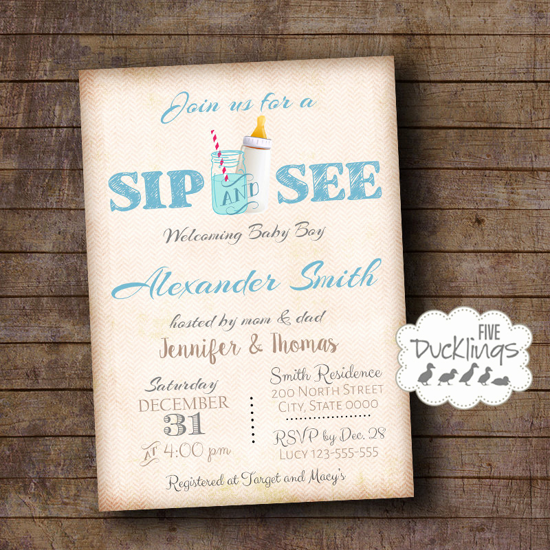 Sip N See Invitation Wording Elegant Sip and See Invitation Wel E Baby Party Invite Baby Boy