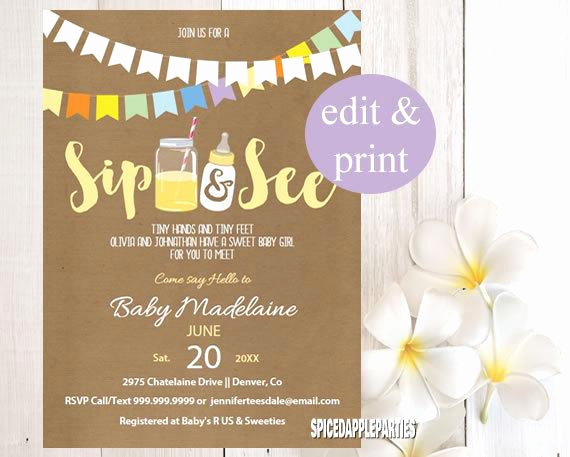 Sip N See Invitation Wording Elegant Sip and See Shower Invitation Sip N See Sip N See Invite