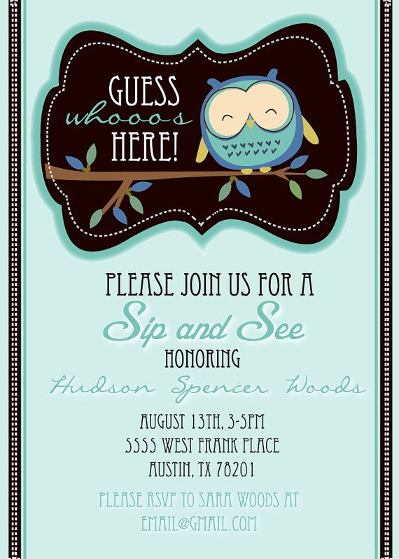 Sip N See Invitation Wording Inspirational Sip and See Cute Owl Shower Invitation by