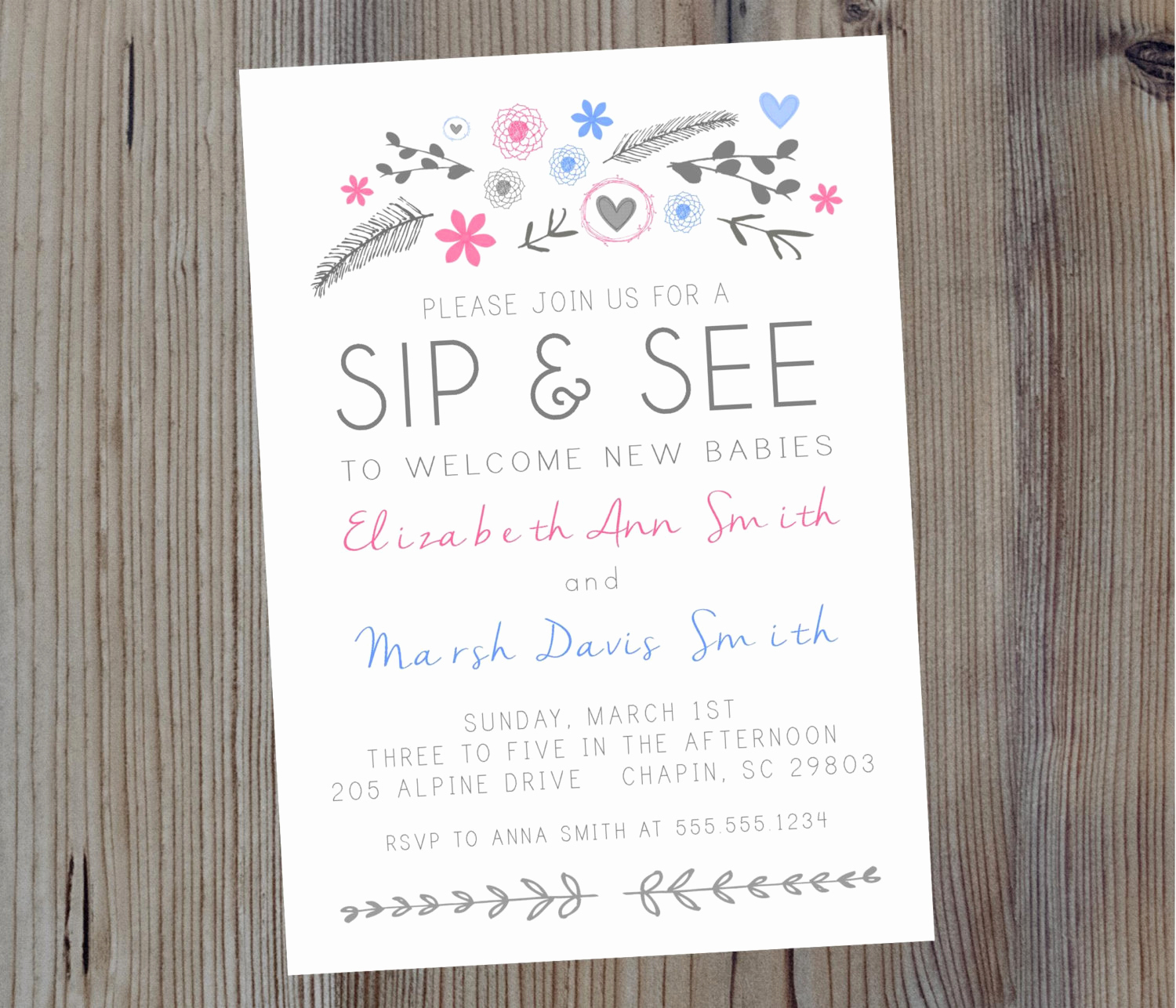 Sip N See Invitation Wording Luxury Floral Sip N See Invitation for Twins or by Sevenstorymountain