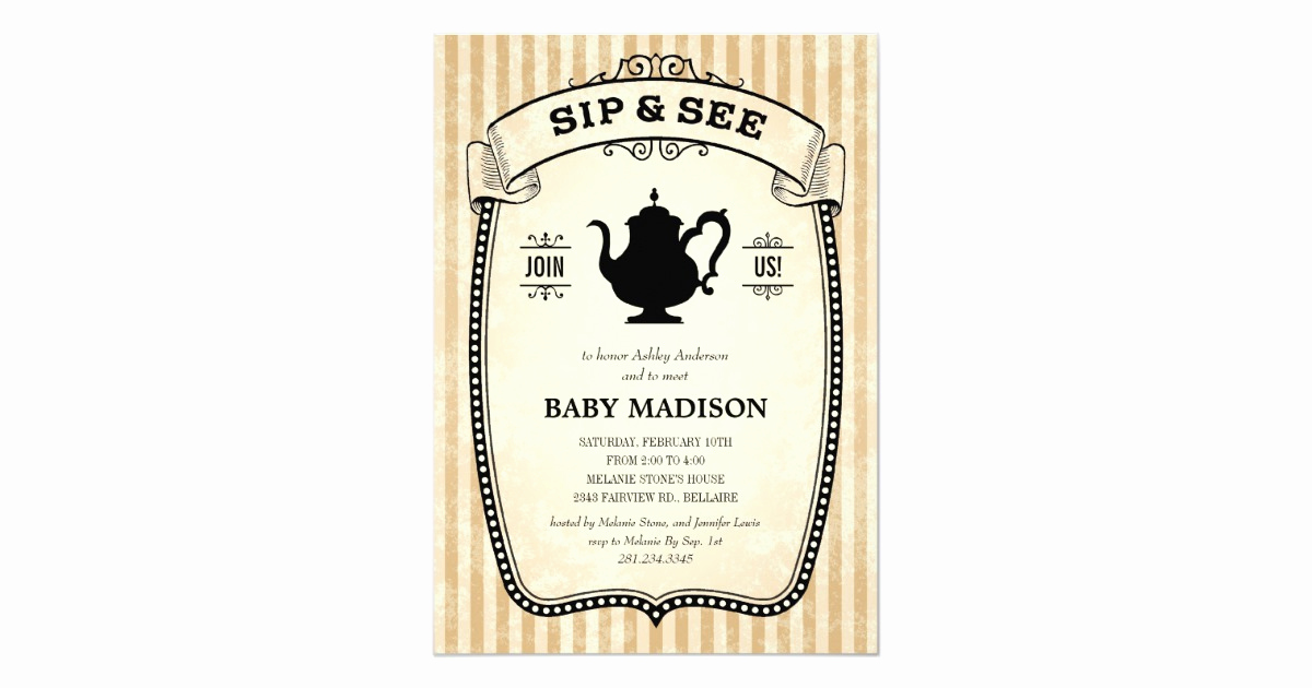 Sip N See Invitation Wording Luxury Sip and See Invitations