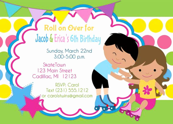 Skate Party Invitation Wording Beautiful Roller Skate Invitation Twins Birthday Invitation Twins