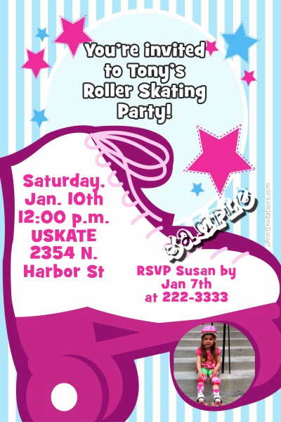 Skate Party Invitation Wording Beautiful Roller Skater Girl Birthday Invitations