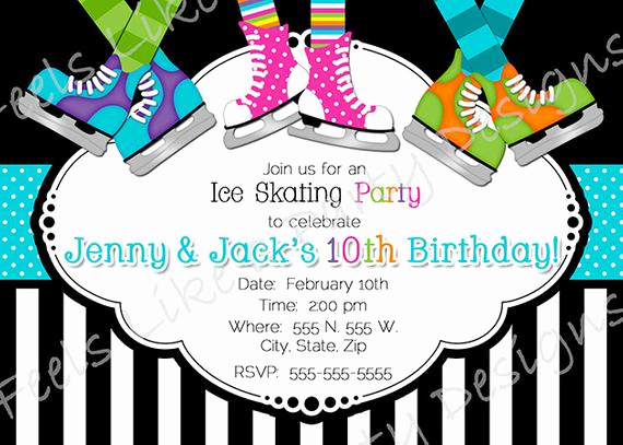 Skate Party Invitation Wording Best Of Custom Boy and Girl Ice Skating Party Invite