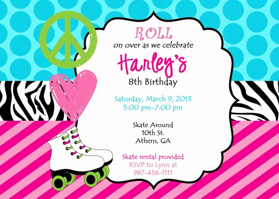Skate Party Invitation Wording Best Of Printable Roller Skating Party Invitation Peace Love