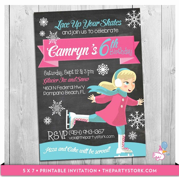 Skate Party Invitation Wording Elegant Ice Skating Invitation Custom Printable Girls Ice Skate