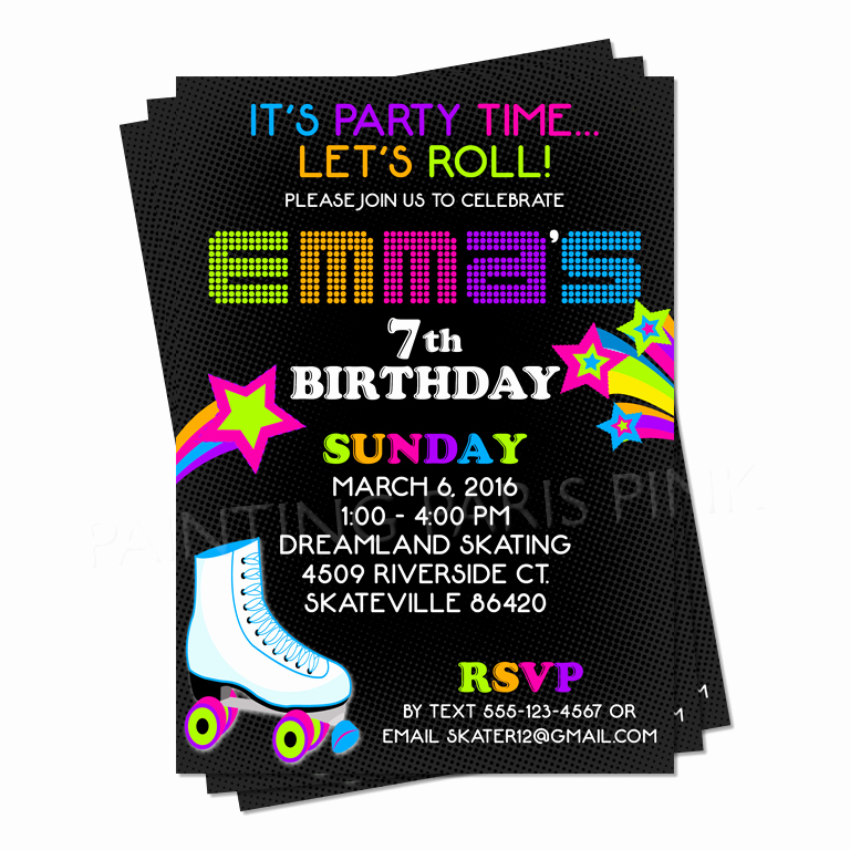 Skate Party Invitation Wording Inspirational Neon Roller Skating Birthday Party Invitation