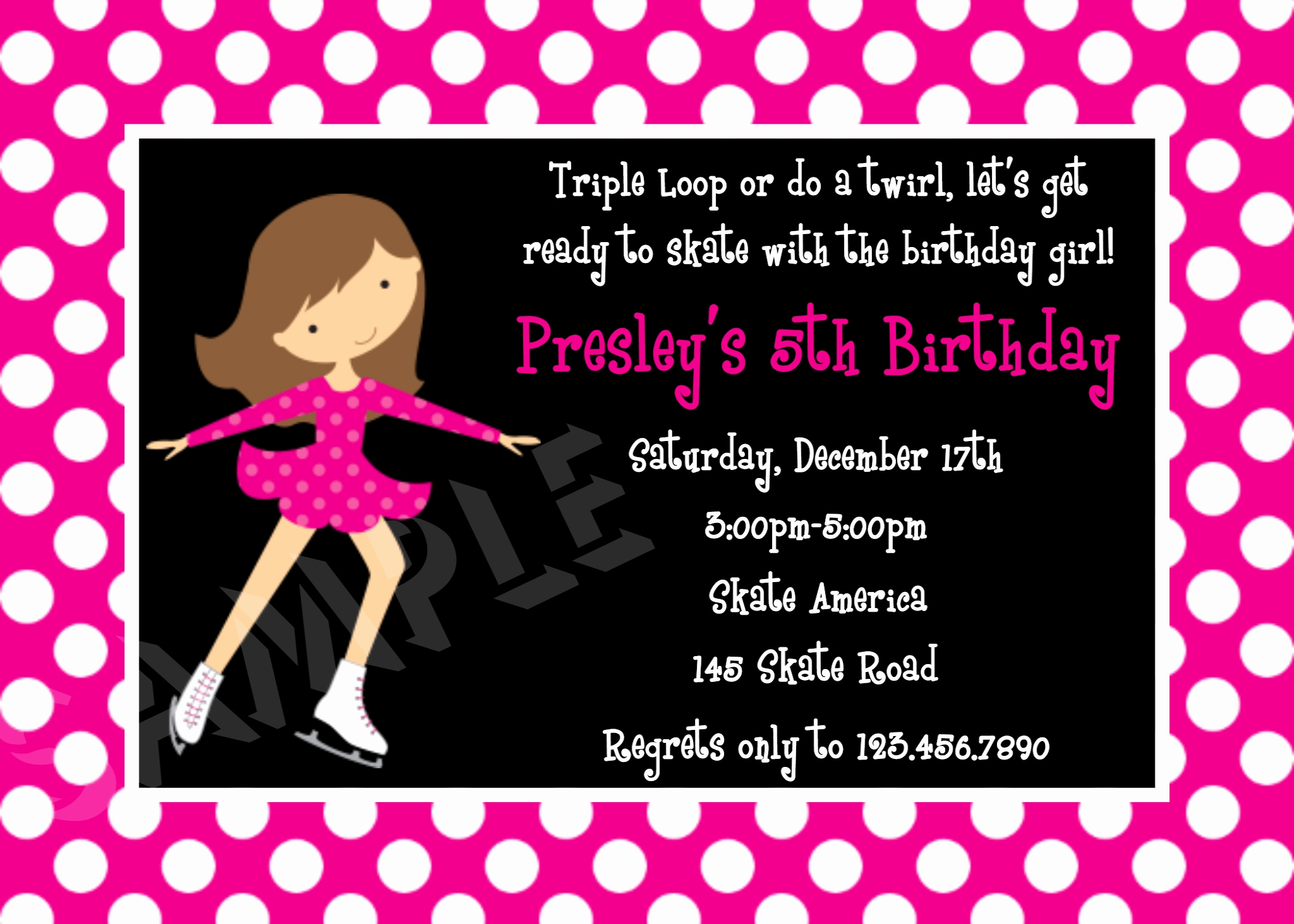 Skate Party Invitation Wording Inspirational Printable Birthday Invitations Girls Ice Skating Party