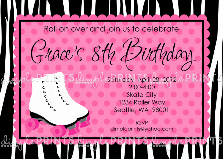 Skate Party Invitation Wording Lovely Roller Skating Birthday Party Invite Dimple Prints Shop