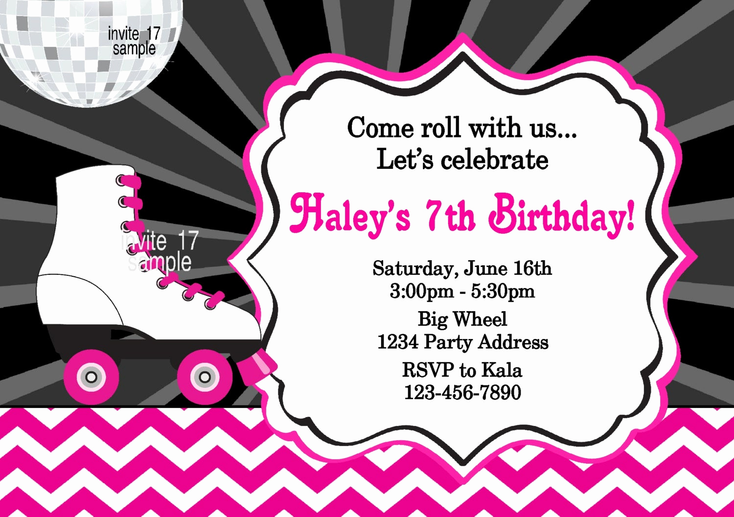 Skate Party Invitation Wording Lovely Roller Skating Invitation Roller Skate Birthday Party Girls