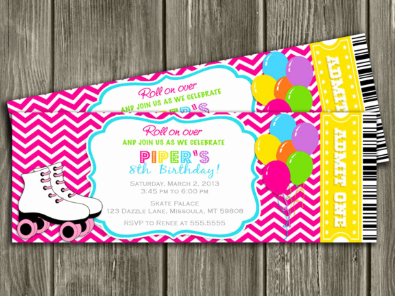 Skate Party Invitation Wording Lovely Roller Skating Ticket Birthday Party Invitation Pink Chevron