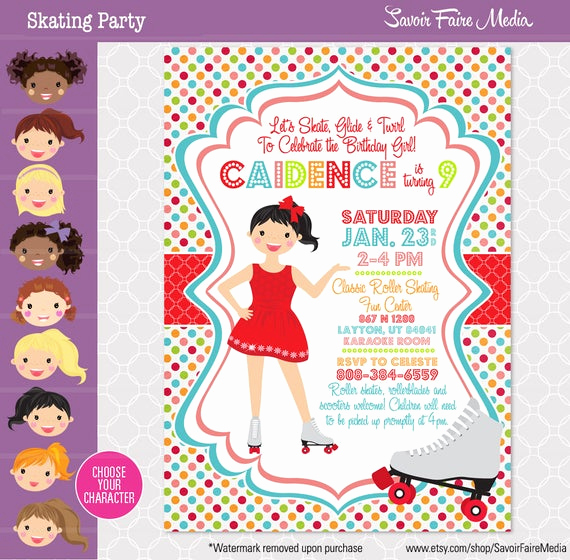 Skate Party Invitation Wording Lovely Skating Party Roller Skating Birthday Invitation Roller