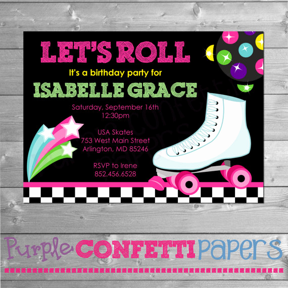 Skate Party Invitation Wording Luxury Roller Skating Birthday Invitation Printable Invitation