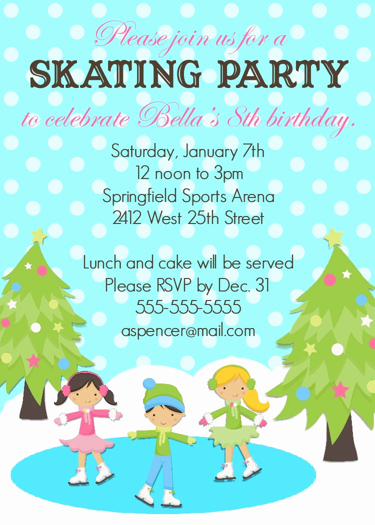 Skate Party Invitation Wording New Ice Skating Birthday Invitation 5x7 Printable by