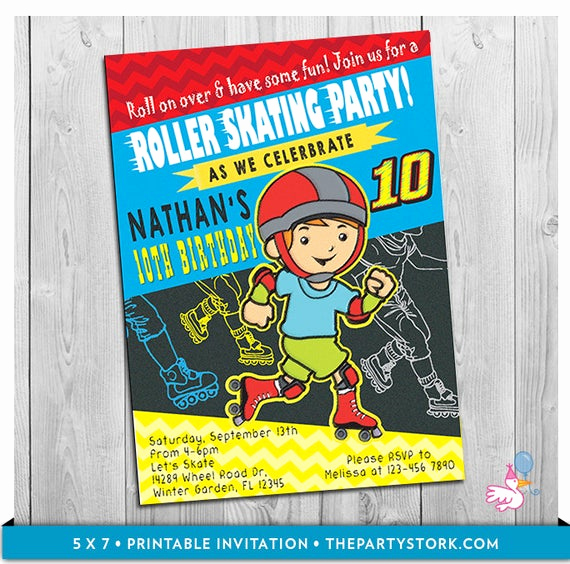 Skate Party Invitation Wording Unique Roller Skate Invitation Printable Boys Rollerskate