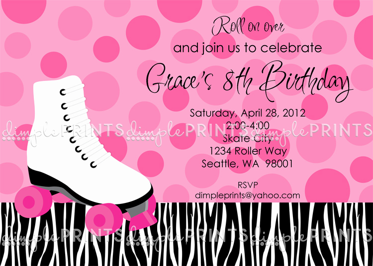 Skate Party Invitation Wording Unique Roller Skating Birthday Party Invite Dimple Prints Shop