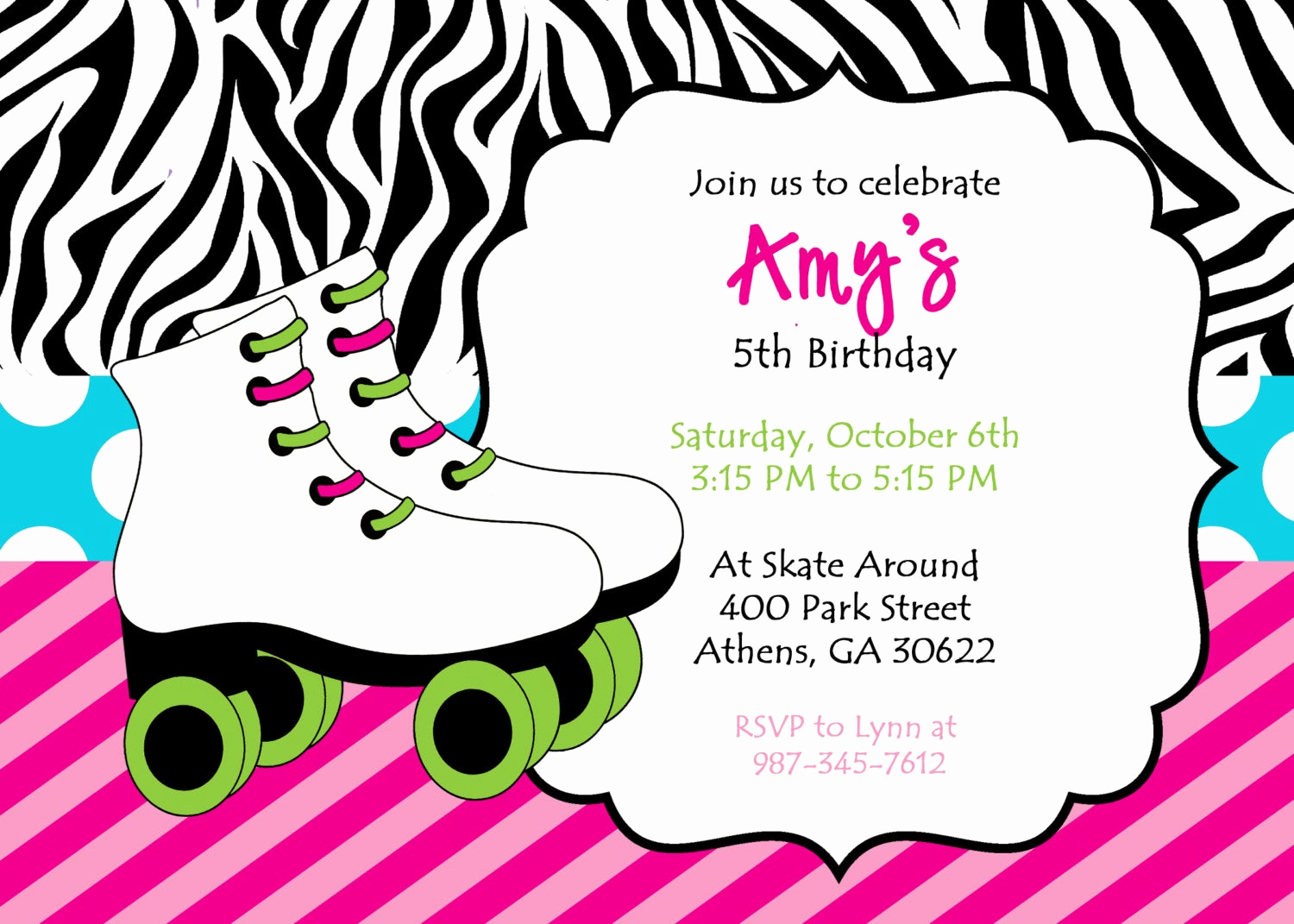 Skating Party Invitation Template Awesome Diy Printable Skating Party Invitation Zebra Print Skate