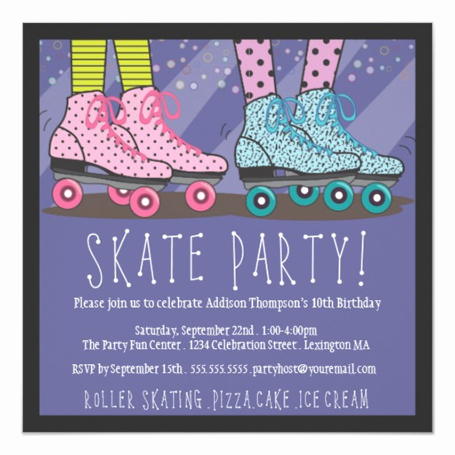 Skating Party Invitation Template Awesome Roller Skating Birthday Party Invitation