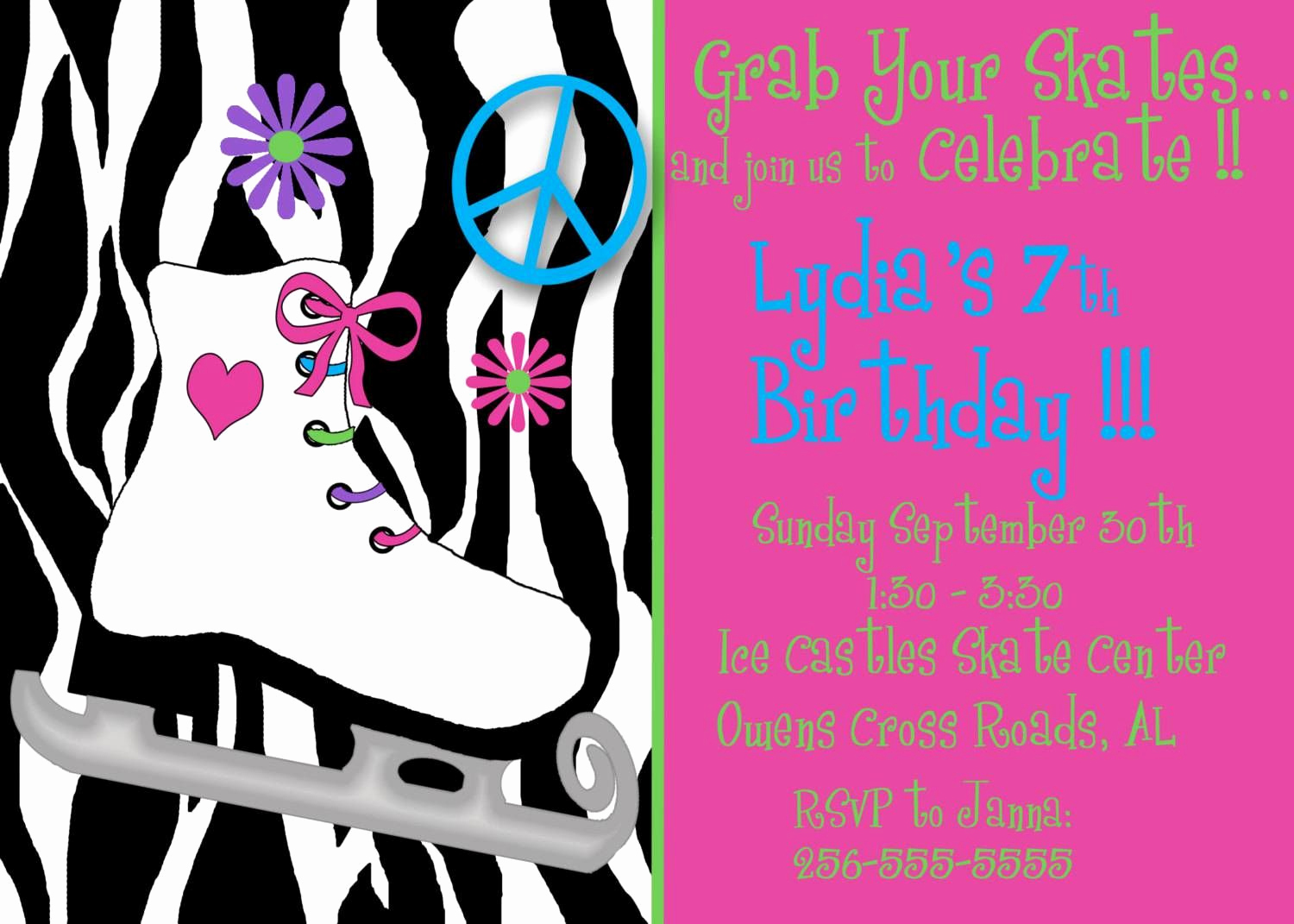 Skating Party Invitation Template Awesome Roller Skating Birthday Party Invitations Free Printable