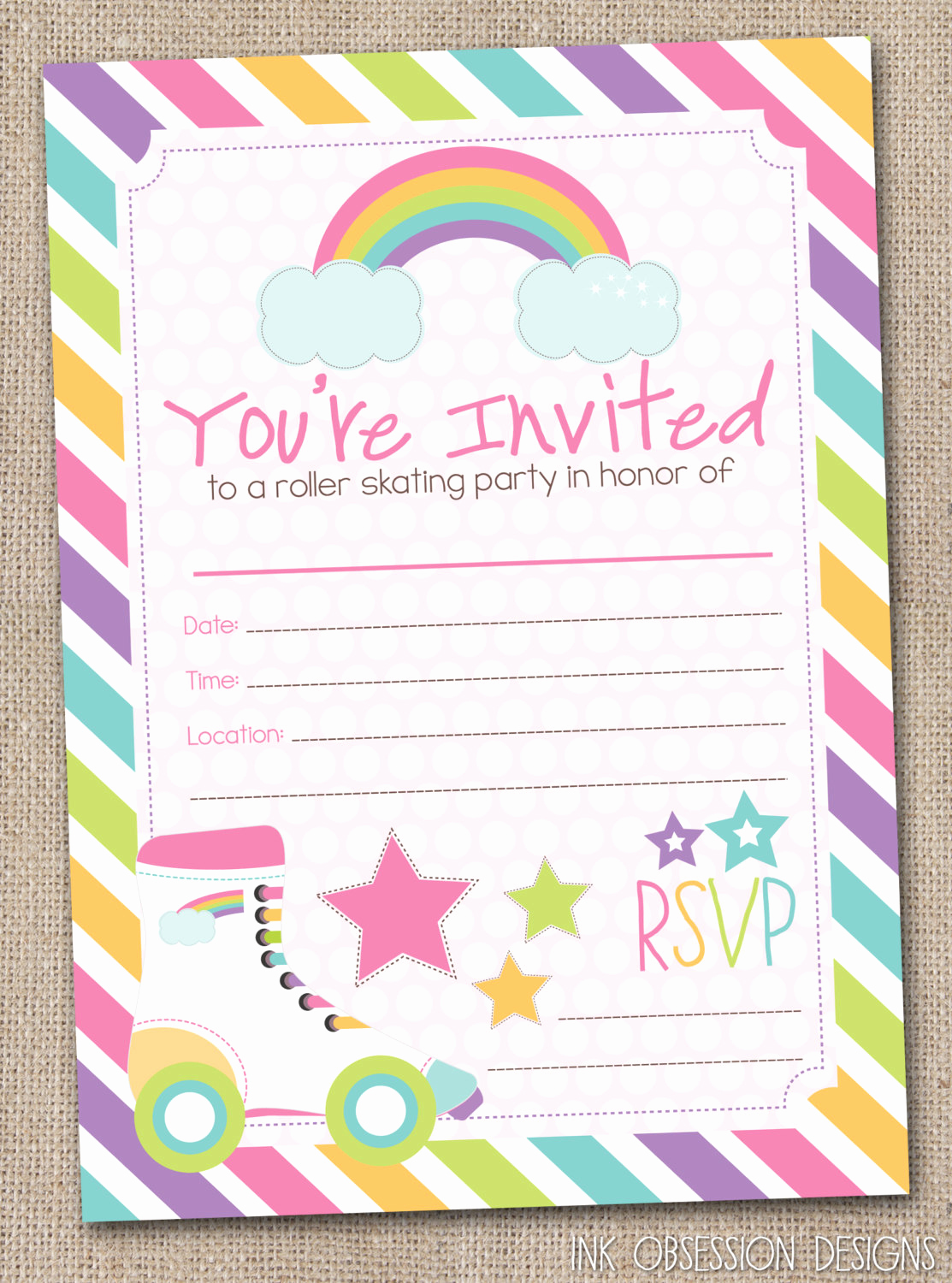 Skating Party Invitation Template Beautiful Fill In Roller Skating Party Invitations by