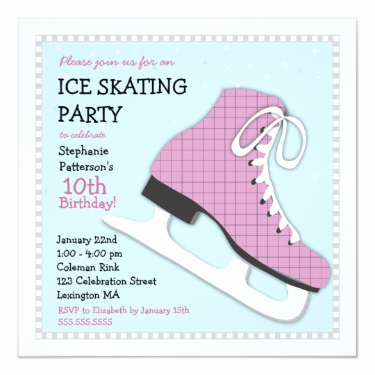 Skating Party Invitation Template Beautiful Funky Girl Ice Skating Birthday Party Invitation