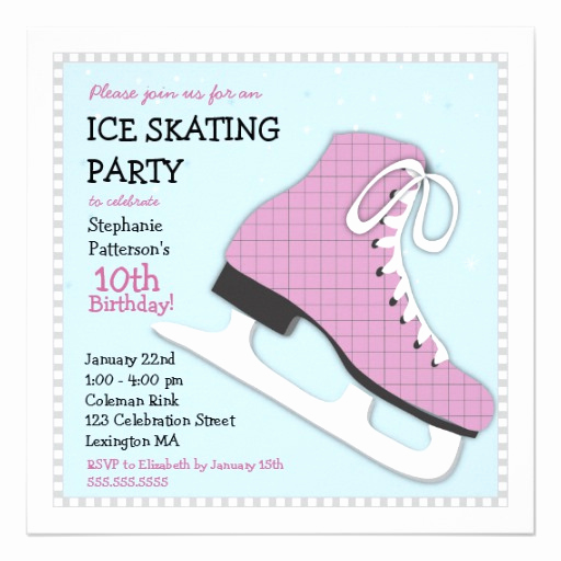 Skating Party Invitation Template Best Of Funky Girl Ice Skating Birthday Party Invitation 5 25
