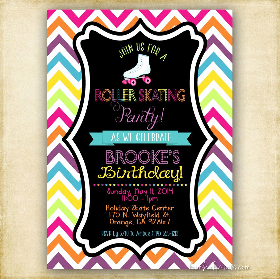 Skating Party Invitation Template Inspirational Roller Skate Party Invitation Printable Diy by Fourleafprints