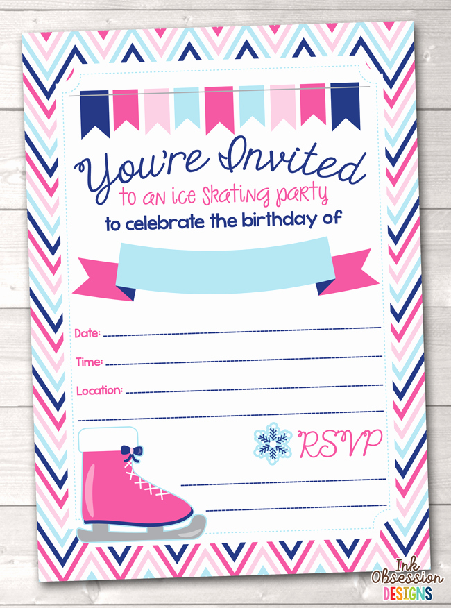 Skating Party Invitation Template New Pink Ice Skating Party Printable Birthday Party Invitation