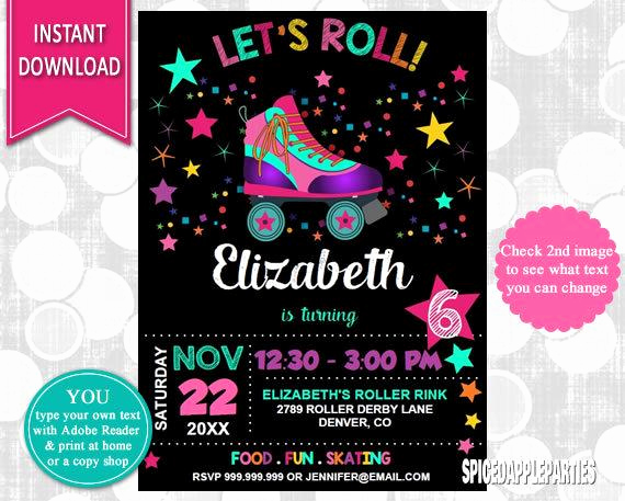 Skating Party Invitation Template New Roller Skating Invitation Roller Skating Party Skating