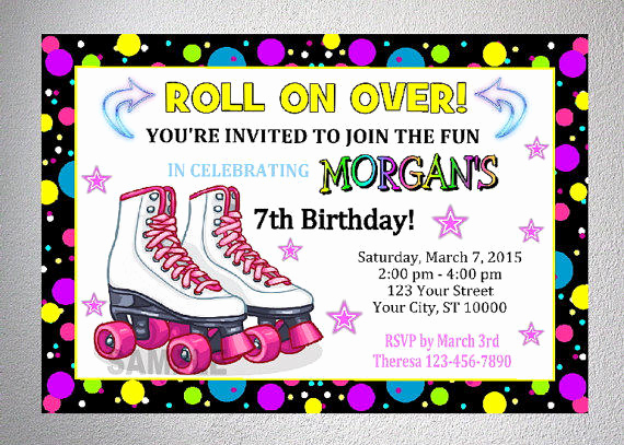 Skating Party Invitation Template Unique Rollerskating Party Invitation Printable From