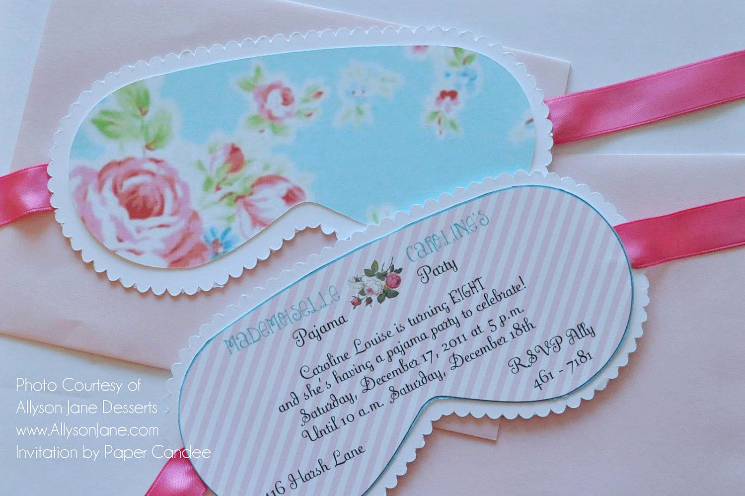 Sleep Mask Invitation Template Fresh Shabby Chic Sleep Over Party Collection assembled by