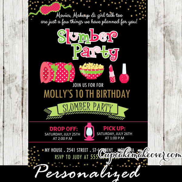 Slumber Party Invitation Ideas Fresh Slumber Party Invitations Pink & Green Girls Sleepover