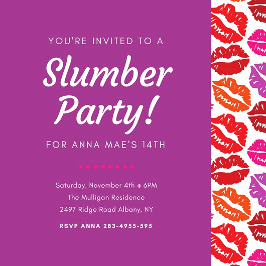 Slumber Party Invitation Ideas Lovely Customize 60 Sleepover Invitation Templates Online Canva
