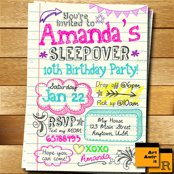 Slumber Party Invitation Ideas Lovely Sleepover Invitation Doodle Teen Notebook Sleepover