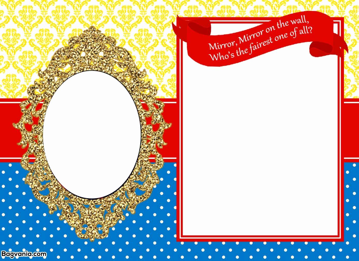 Snow White Invitation Template Elegant Awesome Free Printable Snow White Birthday Invitations