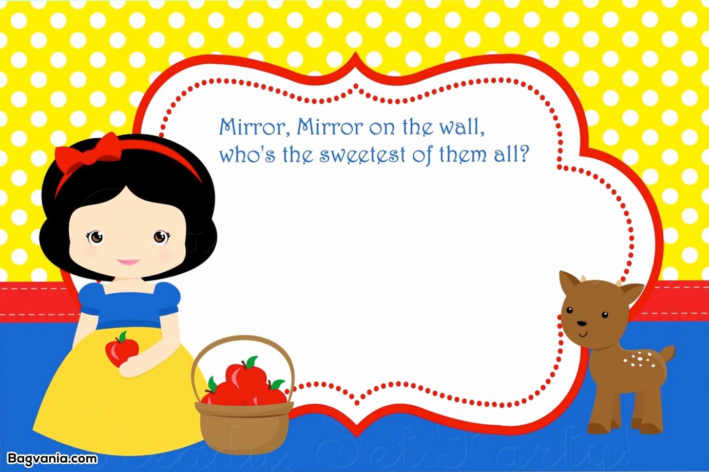 Snow White Invitation Template Elegant Free Printable Snow White Birthday Invitations – Bagvania