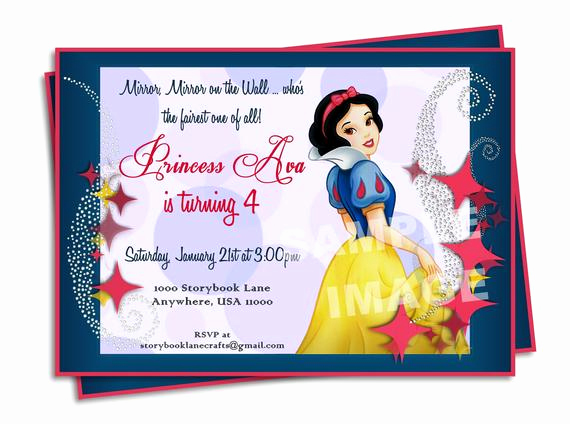 Snow White Invitation Template Fresh Snow White Invitation Disney Princess Birthday Party