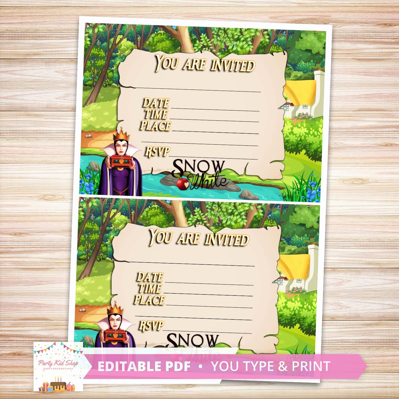 Snow White Invitation Template Fresh Snow White Invitations Diy Editable Pdf Partykidshop