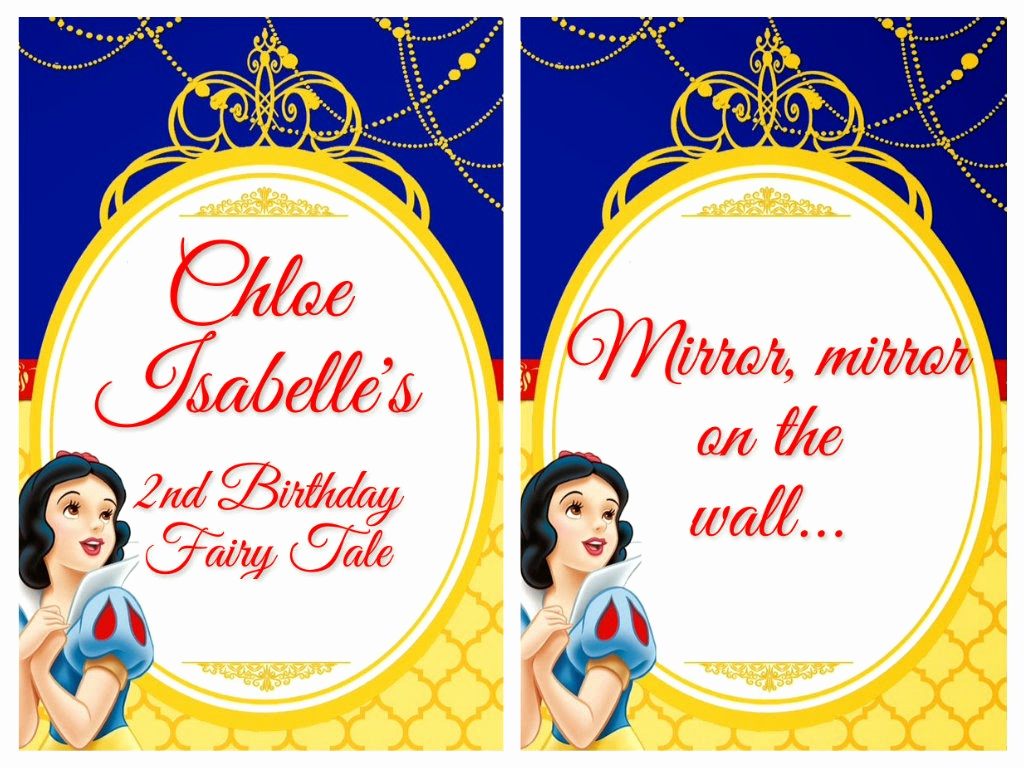 Snow White Invitation Template Inspirational Chlo S Snow White 2nd Birthday Fairy Tale