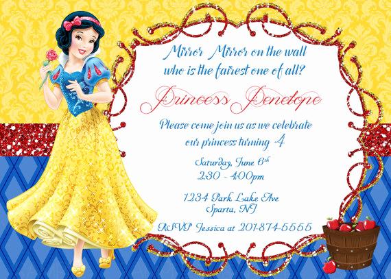 Snow White Invitation Template Inspirational Snow White Printable Birthday Party Invitation Plus Free