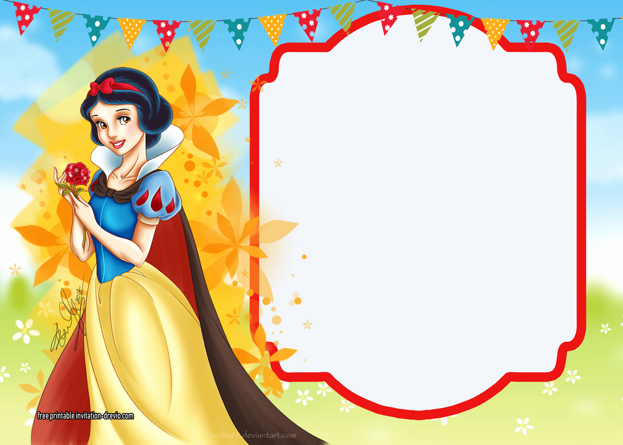 Snow White Invitation Template Lovely Free Printable Snow White Invitations – Plete Edition