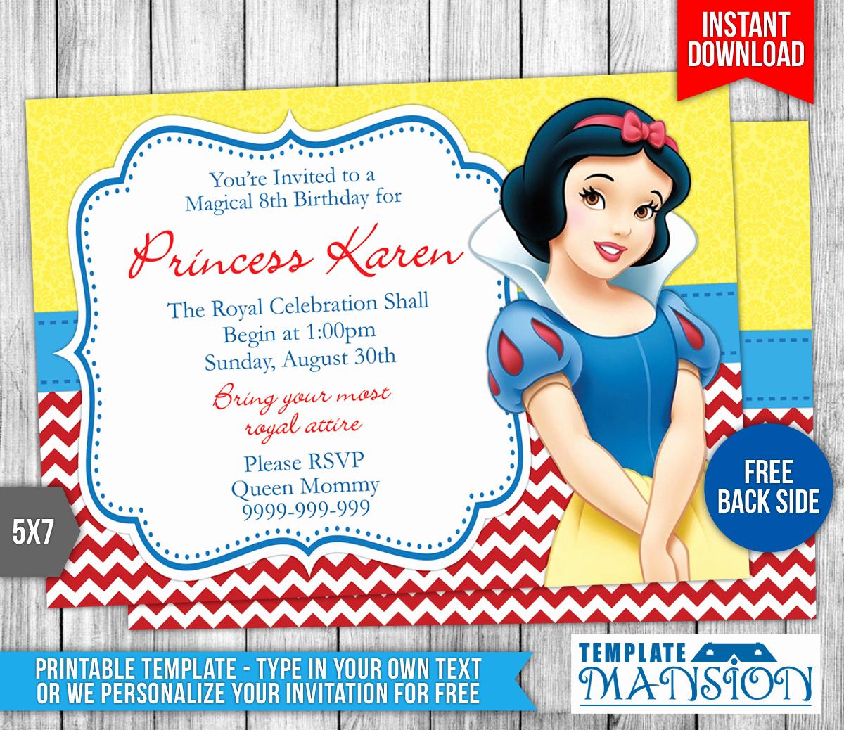 Snow White Invitation Template Luxury Snow White Birthday Invitation 2 by Templatemansion On
