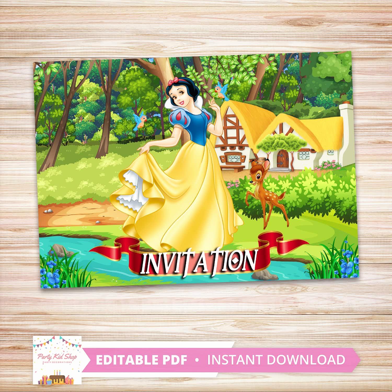 Snow White Invitation Template Luxury Snow White Invitations Diy Editable Pdf Partykidshop