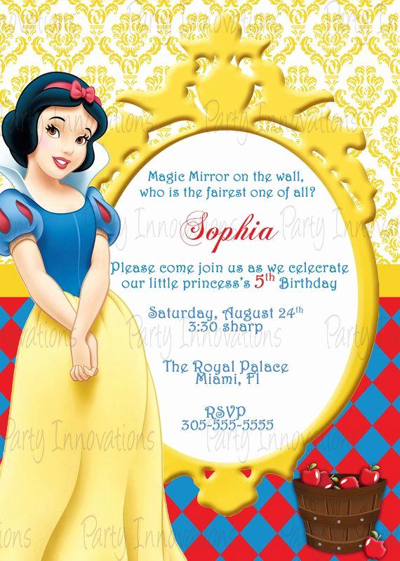 Snow White Invitation Template New Free Printable Snow White Birthday Party Invitations
