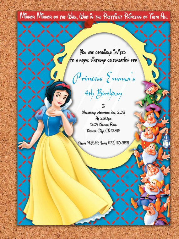 Snow White Invitation Template New Snow White Birthday Invitations