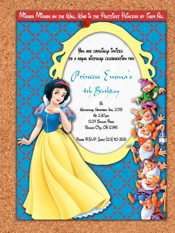 Snow White Invitation Template New Snow White Birthday Invitations