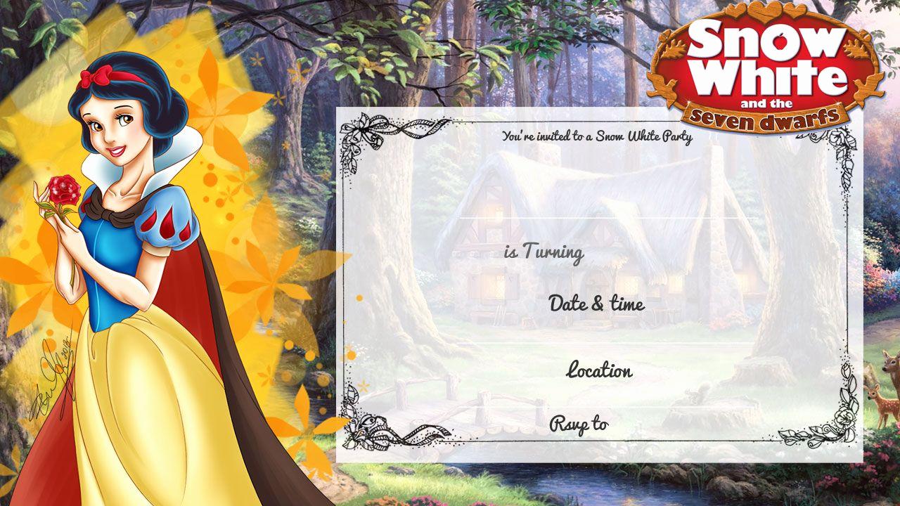 Snow White Invitation Template Unique Cool Free Printable Snow White Birthday Invitation