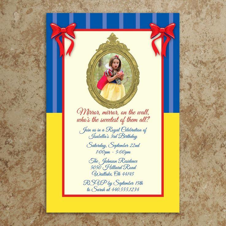 Snow White Mirror Invitation Elegant Snow White Birthday Invitations Wording