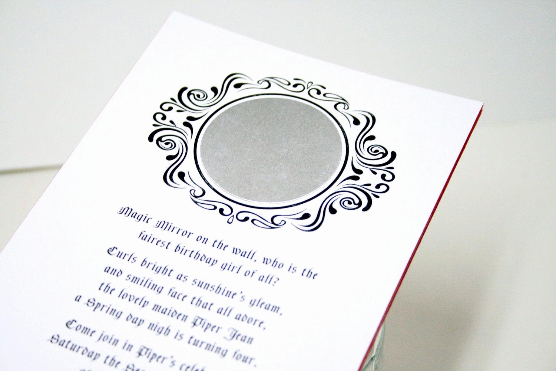 Snow White Mirror Invitation Elegant Snow White Birthday Party Invitations Personalized Printable