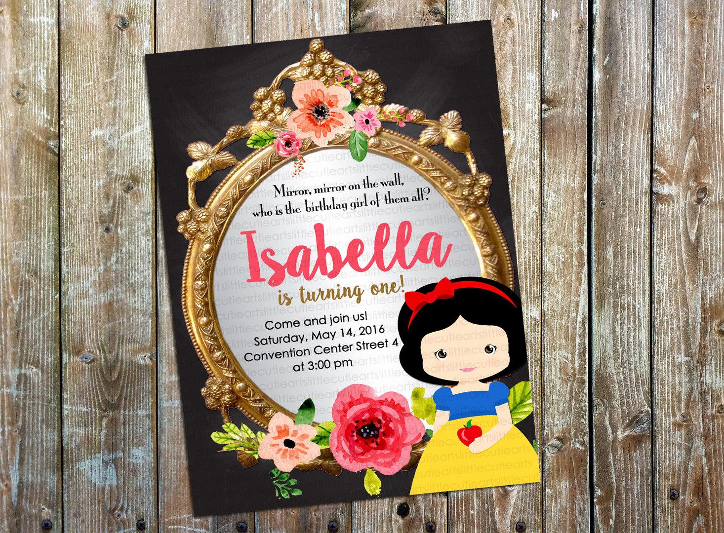 Snow White Mirror Invitation Elegant Snow White Invitation